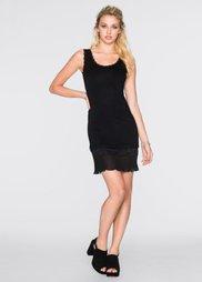 Трикотажное платье с плиссированной вставкой (черный) Bonprix