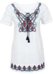 Туника с лентой для завязывания и вышивкой (темно-синий) Bonprix
