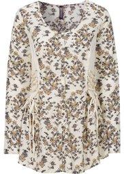 Трикотажная блузка с лентами для завязывания (нежно-сиреневый с рисунком) Bonprix