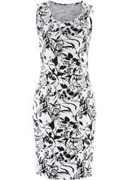 Трикотажное платье (горячий ярко-розовый/белый) Bonprix