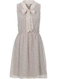Платье с завязывающимися лентами (нежно-персиковый/белый с принт) Bonprix