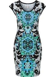 Короткое трикотажное платье (черный/белый/ярко-розовый) Bonprix