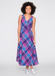 Платье с эффектом запаха и широкой юбкой (синий/цвет фуксии в клетку) Bonprix
