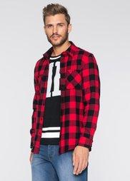 Рубашка Slim Fit с длинным рукавом (красный/черный в клетку) Bonprix