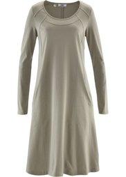 Трикотажное платье с рукавом 3/4 (антрацитовый меланж) Bonprix
