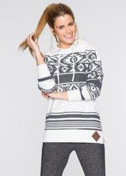 Свитшот вязаного дизайна (цвет белой шерсти/шиферно-серы) Bonprix