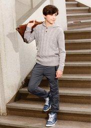 Уютный вязаный пуловер с капюшоном, Размеры  116/122-164/170 (светло-серый меланж) Bonprix