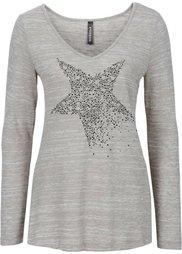 Вязаная футболка со стразами (серый/черный меланж) Bonprix