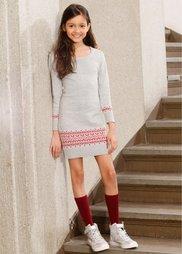 Вязаное платье с жаккардовым узором, Размеры  116/122-164/170 (светло-серый меланж с узором) Bonprix