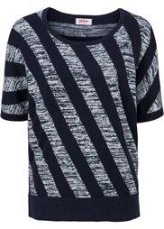 Пуловер с коротким рукавом (темно-красный/цвет белой шерст) Bonprix