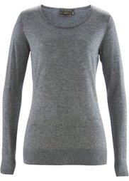 Пуловер с кашемиром ПРЕМИУМ (нежный ярко-розовый в полоску) Bonprix
