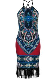 Платье с бахромой (синий) Bonprix
