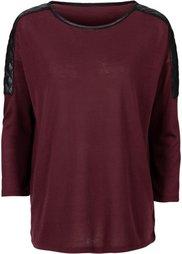 Пуловер с отделкой искусственной кожей (черный) Bonprix