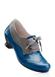 Кожаные туфли на шнурках (серый/синий) Bonprix