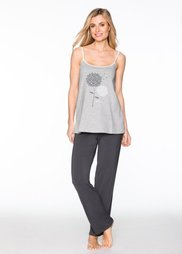 Пижама (светло-серый меланж/шиферно-се) Bonprix