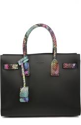 Кожаная сумка с разноцветной питоновой отделкой Sac de jour Saint Laurent