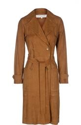 Замшевое пальто с поясом и нашивными карманами Gerard Darel