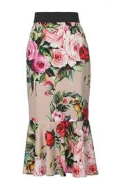 Шелковая юбка годе с цветочным принтом Dolce & Gabbana