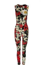 Облегающий комбинезон без рукавов с цветочным принтом Dolce & Gabbana