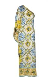 Асимметричное шелковое платье с ярким принтом Dolce & Gabbana