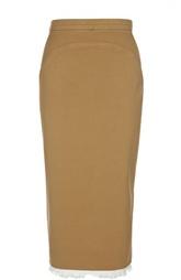 Джинсовая юбка-карандаш с разрезом и бахромой No. 21
