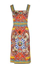 Приталенное платье на бретельках с ярким принтом Dolce & Gabbana
