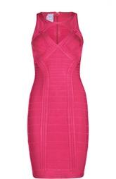 Платье-футляр без рукавов с фигурным вырезом Herve Leger