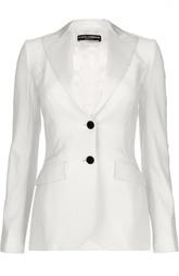 Приталенный шелковый жакет на пуговицах Dolce & Gabbana