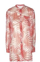 Полупрозрачная шелковая блуза с ярким принтом Dries Van Noten