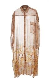 Шелковое полупрозрачное платье-рубашка с ярким принтом Dries Van Noten