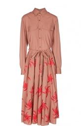 Приталенное платье-рубашка с двойной юбкой Dries Van Noten