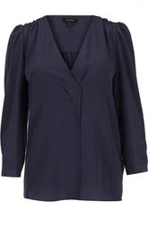 Шелковая блуза с укороченным рукавом и V-образным вырезом Marc Jacobs
