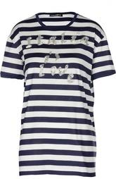Прямая футболка в полоску с вышивкой Dolce & Gabbana