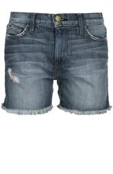 Джинсовые шорты с потертостями и бахромой Current/Elliott