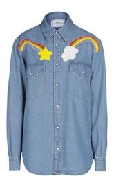Джинсовая блуза свободного кроя с вышивкой Forte Couture