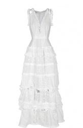 Кружевное платье в пол с V-образным вырезом Oscar de la Renta