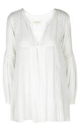 Удлиненная блуза с V-образным вырезом и кружевной вставкой Denim&Supply by Ralph Lauren