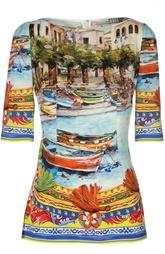 Шелковый приталенный топ с вырезом-лодочка Dolce & Gabbana