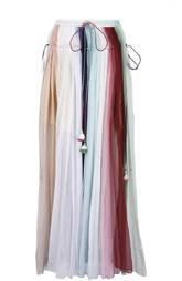 Шелковая плиссированная юбка в пол с кистями Chloé