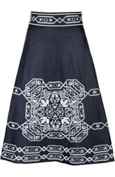 Вязаная юбка А-силуэта с контрастным принтом Maje