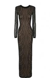 Облегающее платье в пол с открытой спиной Balmain