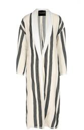 Льняное удлиненное пальто в полоску Erika Cavallini