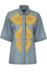 Хлопковая блуза с широким рукавом и пайетками Dries Van Noten