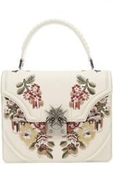 Кожаная сумка с вышивкой Satchel Alexander McQueen