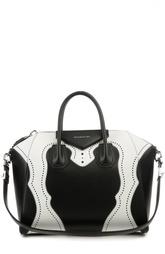 Кожаная сумка с контрастными вставками Antigona Givenchy