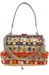 Сумка с помпонами и отделкой из питона Vanda Dolce & Gabbana