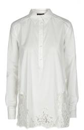 Удлиненная шелковая блуза с кружевной вставкой Ermanno Scervino
