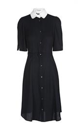 Приталенное платье-рубашка с контрастным воротником Thom Browne
