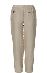 Шелковые прямые брюки с эластичным поясом Bottega Veneta