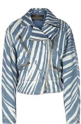 Принтованная джинсовая куртка с косой молнией Roberto Cavalli